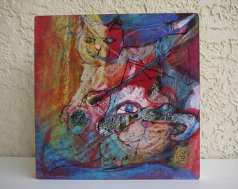 ORIGINAL CAT PAINTING - Cat Lover Gift - animal abstract art - oil pastel painting - red painting