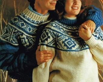 Fairisle Yoke,    pdf pattern, cowichan style, vintage, white buffalo,true north knitting,cardigan, jacket, canadian