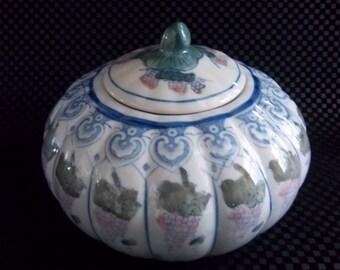 Large Pumpkin Shaped Bowl with Lid - Grapes Design Motif - Hand Painted Porcelain Art - Vintage Home Decor