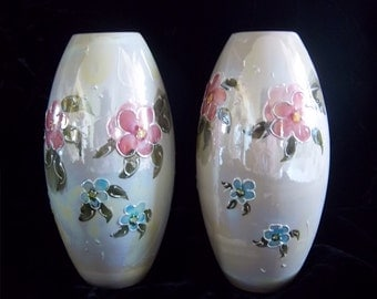 Gorgeous Pair of Iridescent White Luster Raised Relief Floral Vases - Vintage Home Decor