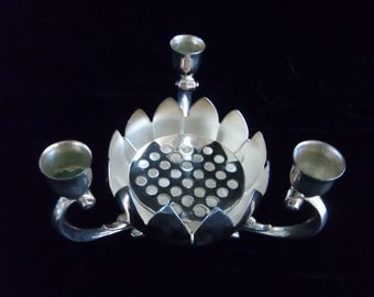 Leonard Silver Plate Candle Holder with Lotus Bowl and Flower Frog Inset - Vintage Home Decor