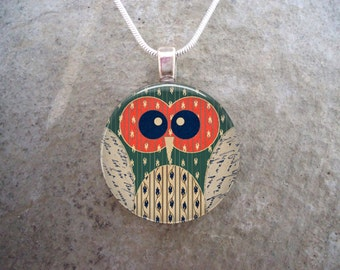 Owl Jewelry - Glass Pendant Necklace - Owl 10