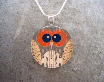 Owl Jewelry - Glass Pendant Necklace - Owl 17
