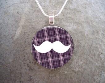 PRE-ORDER Mustache Pendant - Plaid Mustache 9