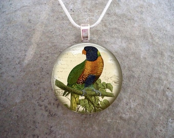 Parrot Jewelry - Glass Pendant Necklace - Victorian Bird 21 - RETIRING 2017