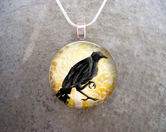 Crow Jewelry - Bird Jewellery - Glass Pendant Necklace - Raven 23