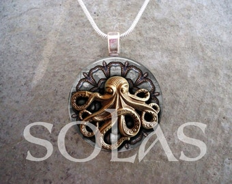 Steampunk Necklace - Glass Pendant Jewelry - Steampunk 1-19