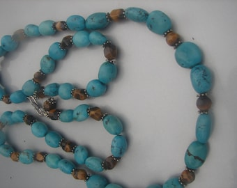STERLING SILVER TURQUOISE tigers eye beaded necklace 41.