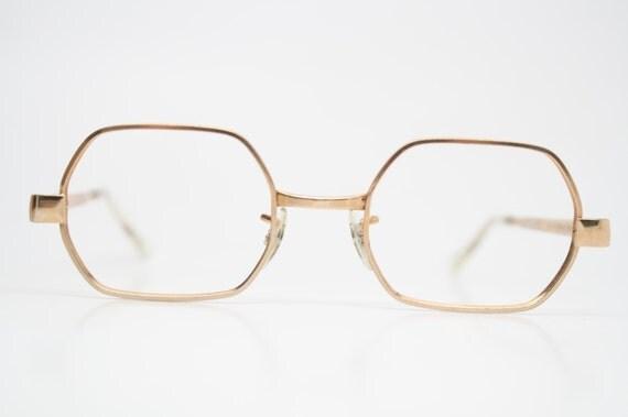 10k Gold Eyeglass Frames : Antique Glasses Frames Square shaped 1/40 10k Gold vintage