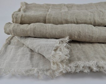 Long and Wide Linen Scarf  SHIPPING Worldwide Two sided Scarf Woman Mens Unisex Light Natural & White Spring Summer