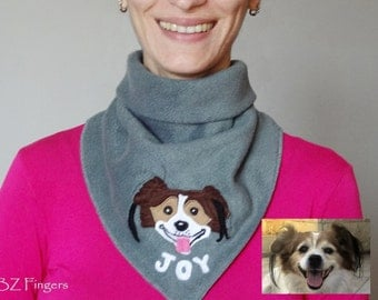 Personalized With Your Dog Fleece Bandana , Neck Warmer, Winter Scarf,  Face Mask