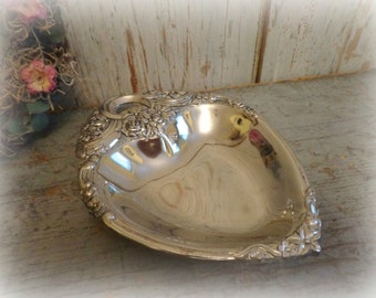 Vintage Silverplate Heart-Shaped Candy Dish