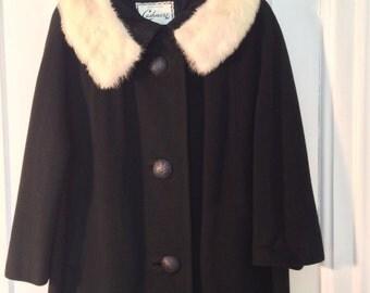 Vintage black Cashmere Swing Coat// 50's silk lined //white Mink collar