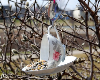 Teacup Bird Feeder with Hand Stamped Bent Spoon- HOPE-