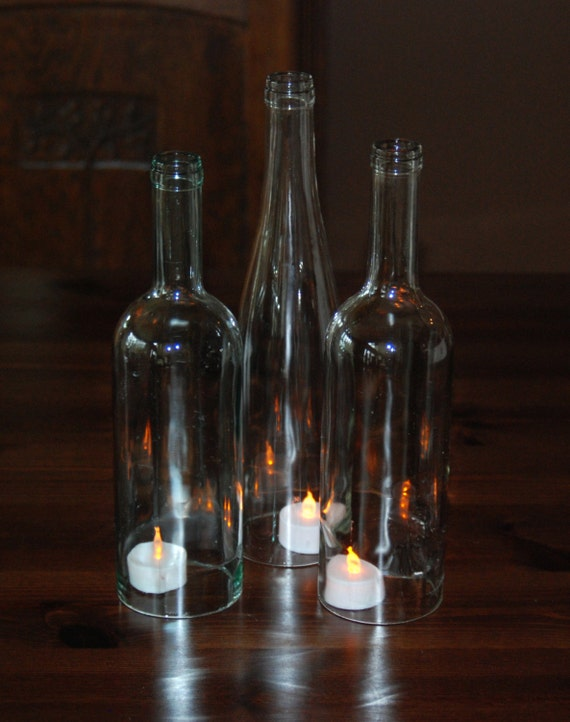 Set of 3 clear wine bottle hurricanes perfect for the for Clear wine bottle centerpieces