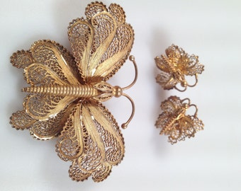 1940s Vintage Filigree BUTTERFLY Brooch and Earring Set  Demi Parure SPUN Silver Gold Vermeil 3 Piece Set