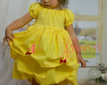 Belle inspired peasant dress  princess dress  yellow dress Disney vacation