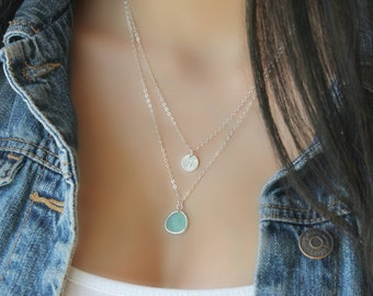 Layered Initial Necklace, Aquamarine, Sterling silver, sea-foam green, personalized stamped disc Double chain, two 2 strands, mint,aqua blue