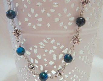 Blue Jasper Bracelet with Silver Flowers, Wire Wrapped in Silver