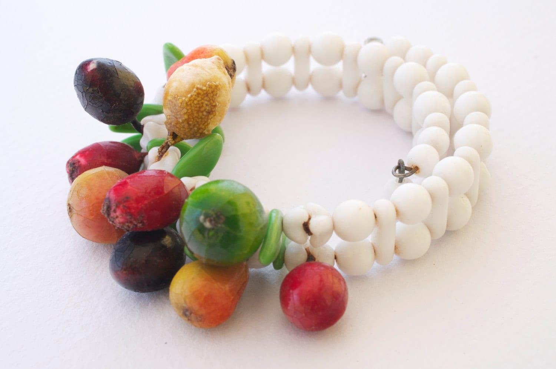 Milk glass beaded fruit salad cuff bracelet s vintage