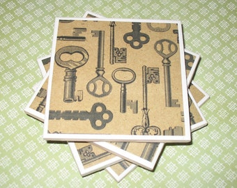 Coasters Keys Antique Pattern, Felt-Backed, Tile, Set of Four