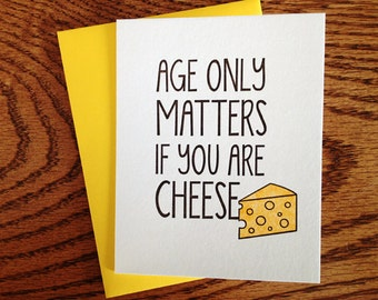 Aged Cheese Birthday Letterpress Card