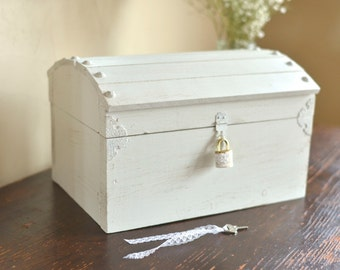 Shabby Chic Card Box with a Lock and Key by Burlap and Linen Co