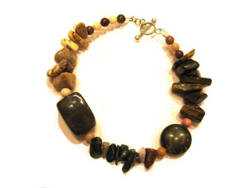 925 Sterling Silver Boho Beach Earthy Natural Asymmetrical Semi Precious Stone Fancy Jasper Amber nuggets Tiger Eye Chips Beaded Bracelet