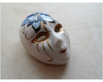 Hand Painted Porcelain Face Mask Brooch 1960's