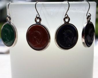 NOW 20% OFF! Glass Intaglio Earrings