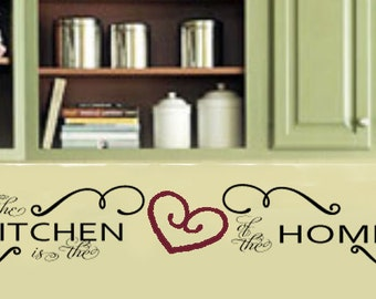 The KItchen is the Heart of the Home Family Home Vinyl Wall Lettering Valence Decal Large Size Options