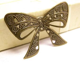12pc 38X26mm antique bronze bowknot filigree wraps/pendants-8306