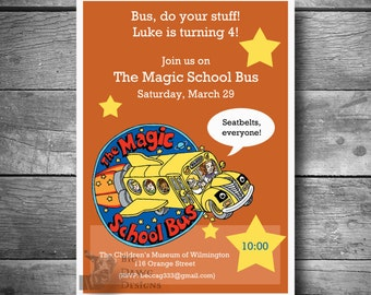 Magic School Bus Birthday Invitation, School Bus Invite, Printable Text or Email Magic School Bus Invite