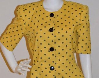 Vintage Yellow Peplum Polka Dot Blazer