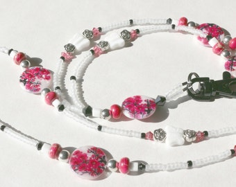 O O A K – Mother of Pearl & Glass Beaded Lanyard ID Badge Holder – STRAWBERRY FIELDS – G132