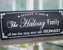 Personalized Family Name Sign Plaque Custom Made 8x22 Solid wood Family sign, wedding or anniversary gift 017