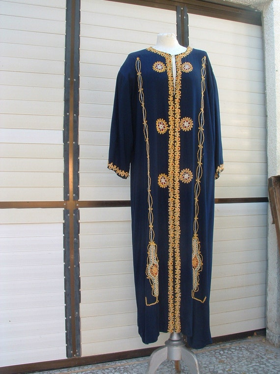free shippingdark blue kaftan  original Arabic party dress with gold fibers embroidery hand made circa 1980's never been ware