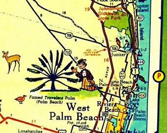 WEST PALM BEACH map art, West Palm Beach Florida map, Florida Art, illustrated Map decor, Jupiter Island Kids room art, Kids room map, Juno