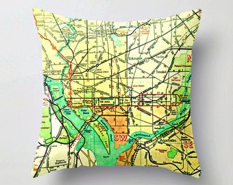 Washington DC Map Pillow Cover, Washington DC Pillow,  United States Capitol, Cushion Cover, Map Throw Pillow Retro Map Pillow, Illustrated