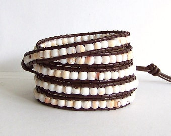 Beach Jewelry Leather Wrap Bracelet - Conch Shell Beads, Brown Leather - Bohemian Beach Cottage Jewelry