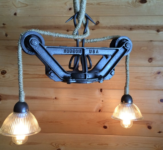 Light Pendant Ceiling Rustic Industrial Cast Iron Hay Trolley