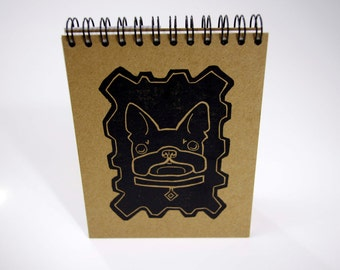 Hand Made Letterpress Printed Note Pad - Linocut French Bulldog