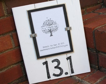 Picture Frame - Distressed Wood - 13.1 Half Marathon - Holds a Vertical 5x7 Photo - White & Black