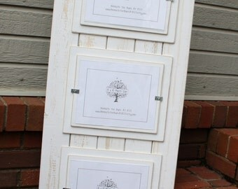 Triple 8x10 Picture Frame - Distressed Wood - Double Mats - Holds 3 - 8x10 Pictures - White Boards and White Mats