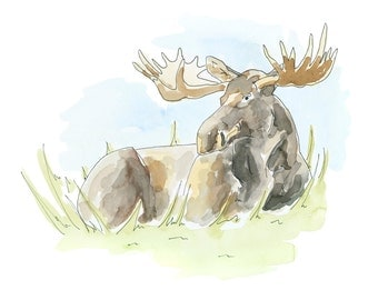 Watercolour Moose Print