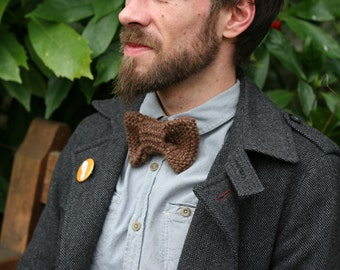 Hand knitted Brown wool bowtie