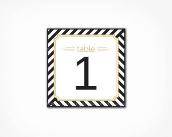Table Numbers - Printable INSTANT DOWNLOAD Black White Gold - Black and White Stripe Wedding Party - Table Cards Signs Number 1 - 20