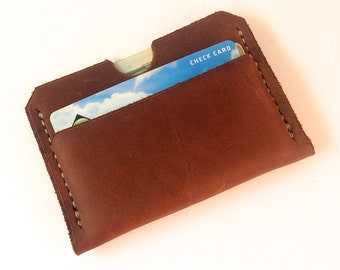Mens leather wallet - The new classic in brown oil tan leather - Personalized wallet