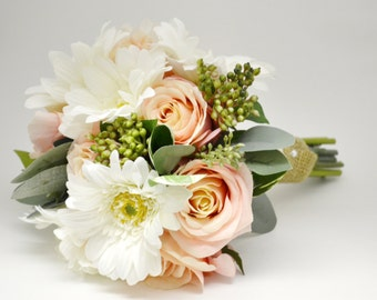 Pink Rose, Green Berries, Leaves and White Gerbera Daisy Bouquet - Bridesmaid Bouquet or Small Bridal Bouquet, Pink and White, Fresh Looking