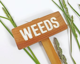 WEEDS Garden Sign, Painted & Oil Sealed Cedar Wood: Hand Routed, Yard Marker, Plant Signage, Custom Garden Sign, Personalized Garden Marker